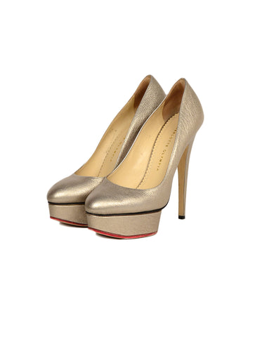 Charlotte Olympia Bronze Metallic Leather Platform Dolly Pumps sz 39