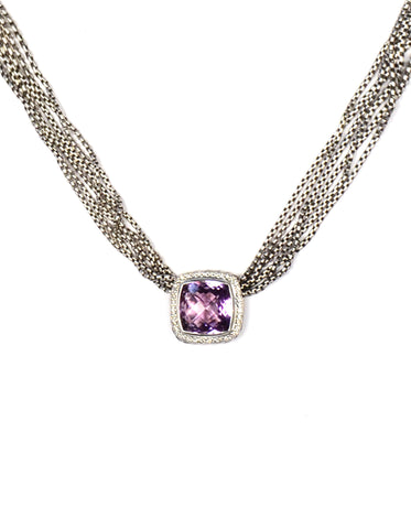 David Yurman Sterling Silver Multi-strand Amethyst & Diamond Albion Necklace