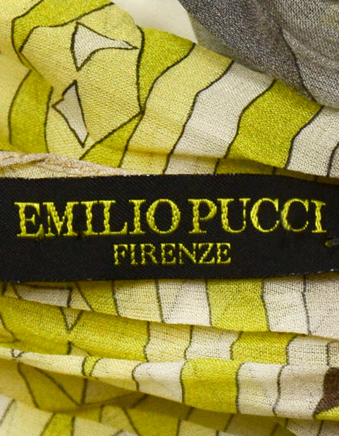 Emilio Pucci Yellow & Grey Silk Crinkled Scarf
