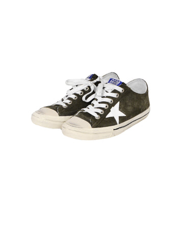 Golden Goose GGDB Green Suede V-Star Sneakers sz 41