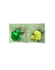 Jar Two-Tone Green Aluminum Leaf Earrings
