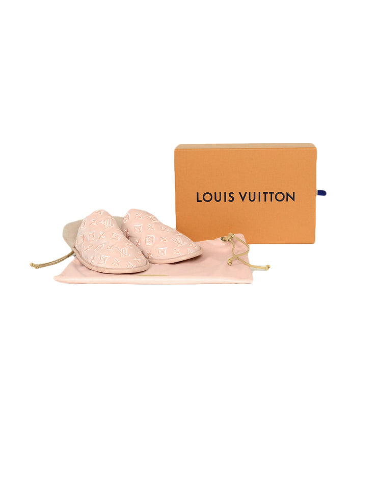 Louis Vuitton Pink Monogram Velvet/Mink Fur Suite Open Back Flat Loafer Slipper sz 39-40