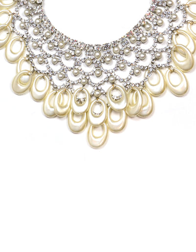 "Lawrence VRBA Crystal Pearl Statement 15"" Necklace"