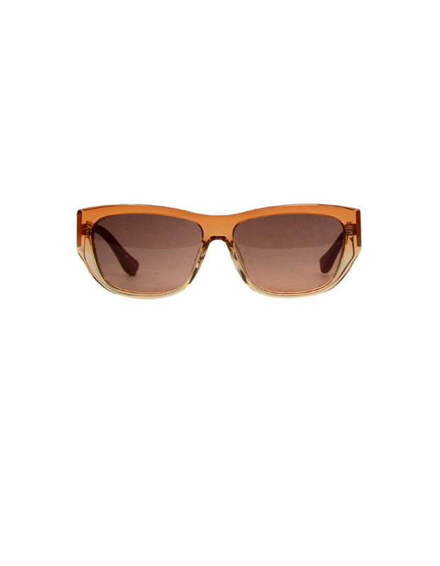 Linda Farrow x The Row Orange Ombre Sunglasses w/ Leather Accent