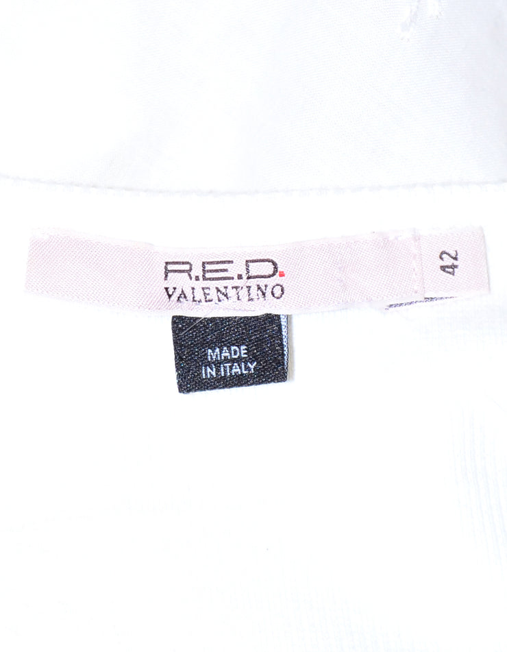 Red Valentino White Cotton Sleeveless Top with Bow sz 6