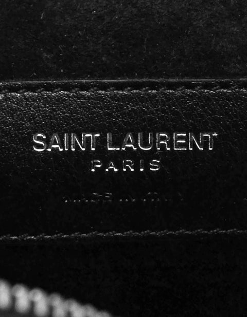 Saint Laurent Black Crystal Studded Monogram Small Love Heart Chain Crossbody Bag