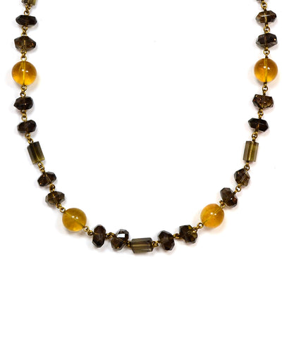 "Stephen Dweck Smoky Topaz and Citrine 31"" Necklace w/ Antiqued Goldtone Links"
