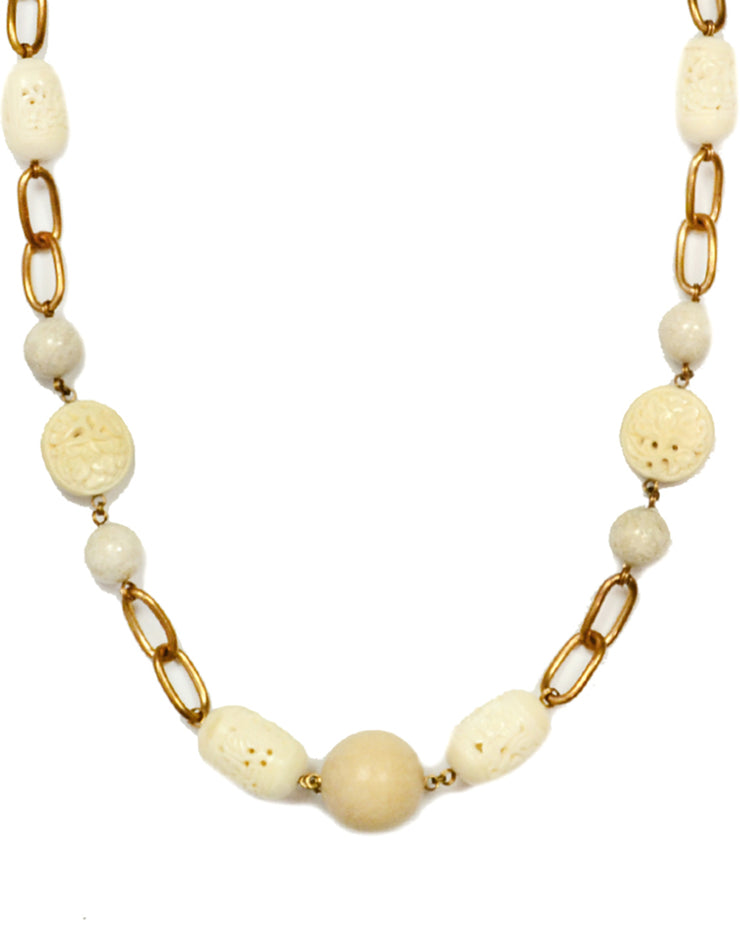 "Stephen Dweck White Agate and Wood Chain Link 37"" Necklace"