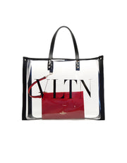 Valentino Clear VLTN PVC Shopping Tote Bag w/ Red Leather Insert