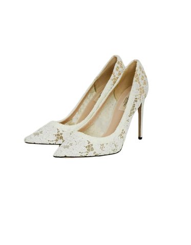 Valentino White Lace/Crystal Point Toe Pumps sz 39 rt. $1,695