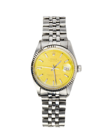 Rolex Stainless Oyster Perpetual 36mm Datejust Watch w/ Yellow Face