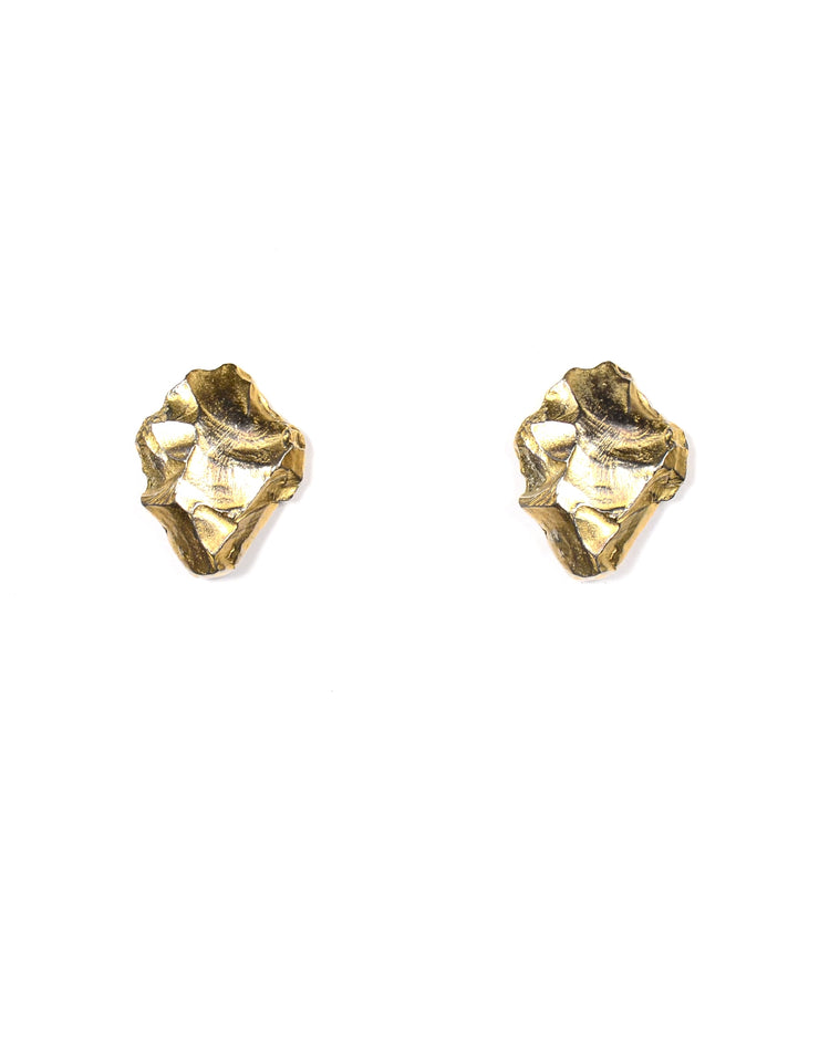 YSL Vintage Rive Gauche Goldtone Rock Shaped Clip On Earrings