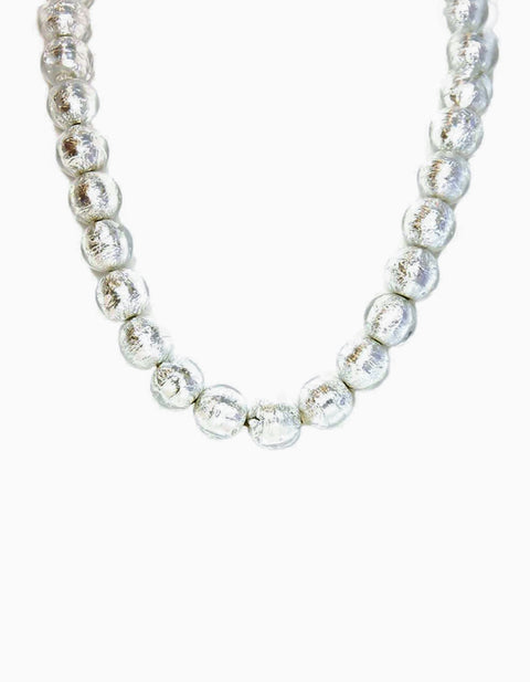 Chanel Clear Bead & Silver Foil Necklace