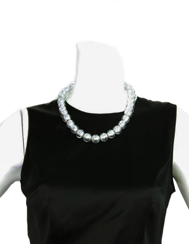 Chanel 2000 Clear Bead & Silver Foil Necklace