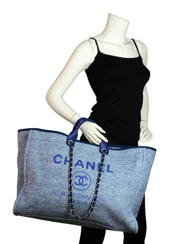 Chanel Blue & Glitter Canvas XL Deauville Tote Bag
