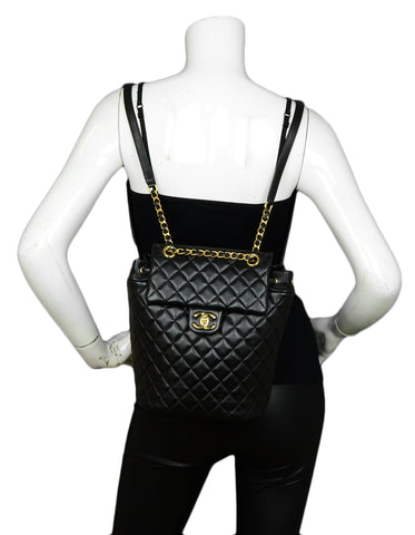 Chanel Black Lambskin Quilted Leather Small Urban Spirit Backpack Bag