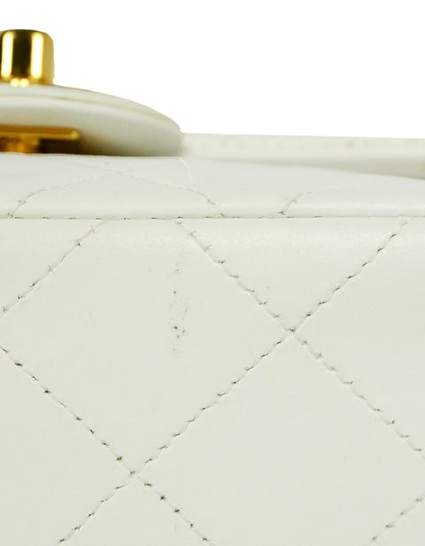 Chanel White Lambskin Leather Quilted Square Mini Flap Classic Bag
