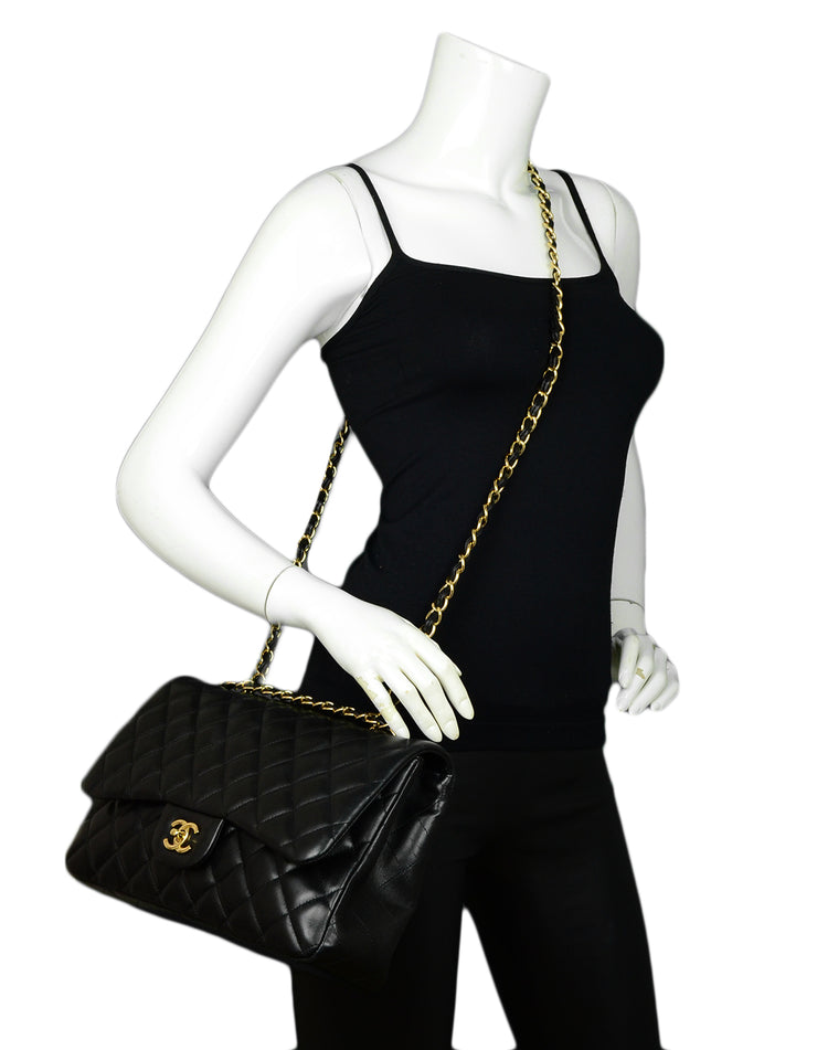Chanel Black Lambskin Leather Quilted Single Flap Jumbo Classic Bag