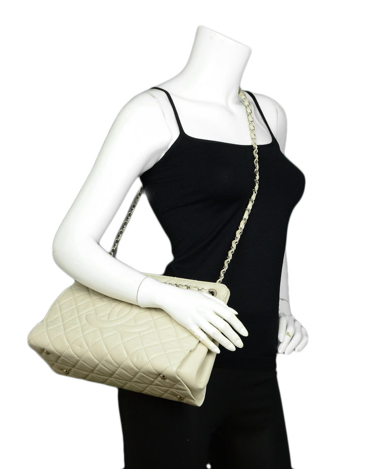 Chanel Ivory Caviar Leather Timeless CC Tote Bag