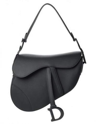 Dior Black on Black Ultramatte Calfskin Leather Saddle Bag