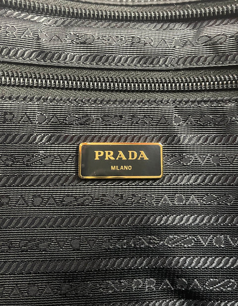 Prada Navy Nylon Quilted Tote Bag w/Contrast Stitching