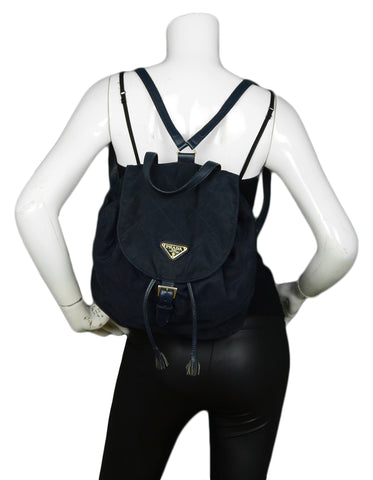 Prada Navy Nylon Quilted Backpack Bag