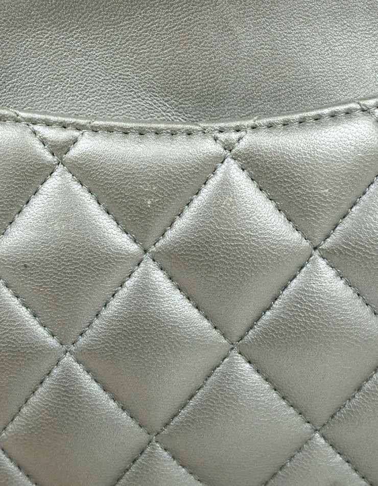 "Chanel Silver Metallic Lambskin Quilted 10"" Medium Double Flap Classic Bag"