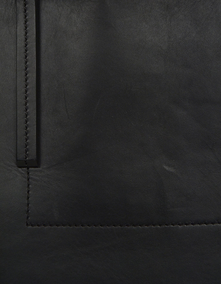 Rick Owens Black Leather Open Tote Bag w/ zipper