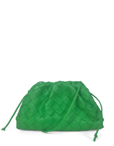 Bottega Veneta Green Intrecciato Leather The Mini Pouch Crossbody Bag