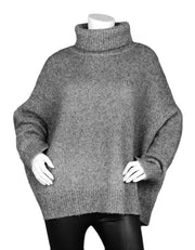 Co 2019 Grey Oversized Alpaca and Prima Cotton-Blend Turtleneck Sweater sz M/L