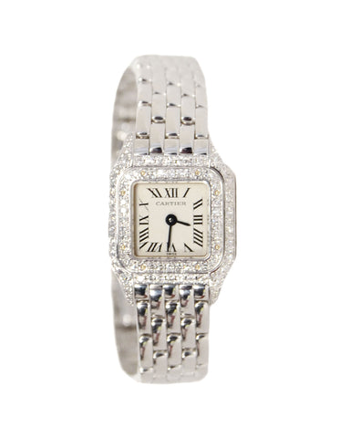 Cartier 18K White Gold 17mm Mini Panthere Watch w. Diamonds