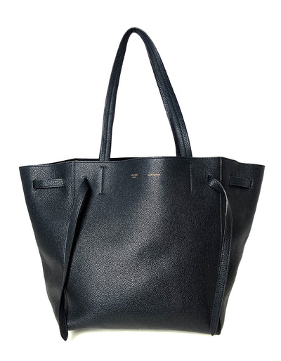Celine Black Calfskin Leather Small Belt Cabas Phantom Tote Bag