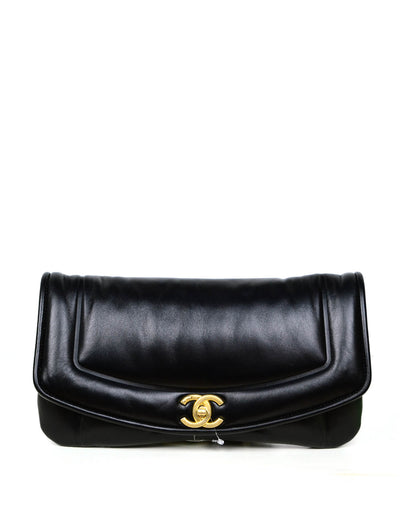 Chanel 2019 NWT Black Shiny Lambskin Vintage Puffy Clutch Bag