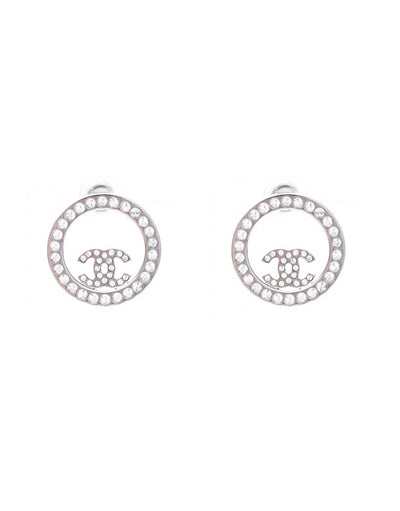 Chanel Silver Crystal Round CC Pierced Earrings