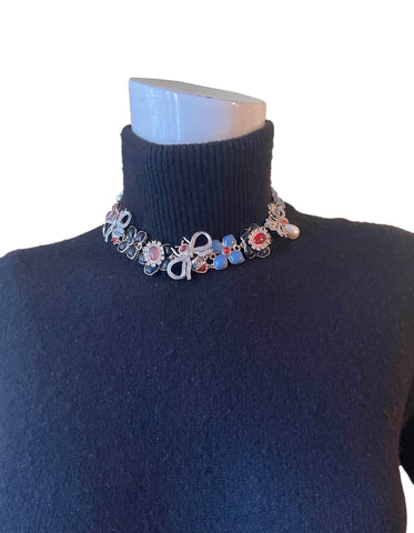 Chanel Bee, Bow & Flower Enamel & Crystal Choker Necklace