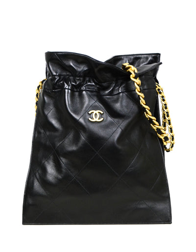 Chanel 2020 Black Shiny Lambskin Leather Chain Drawstring Tote Bag