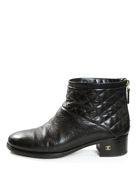 Chanel Black Quilted Leather Ankle Booties sz 38.5