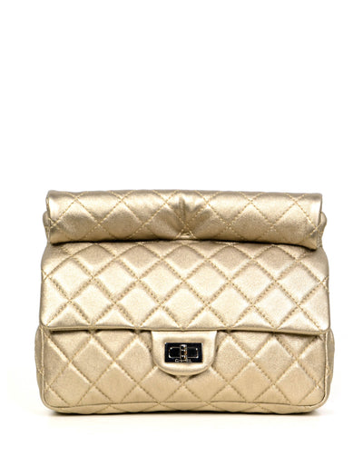 Chanel Khaki Metallic Calfskin 2.55 Reissue Roll Clutch Bag