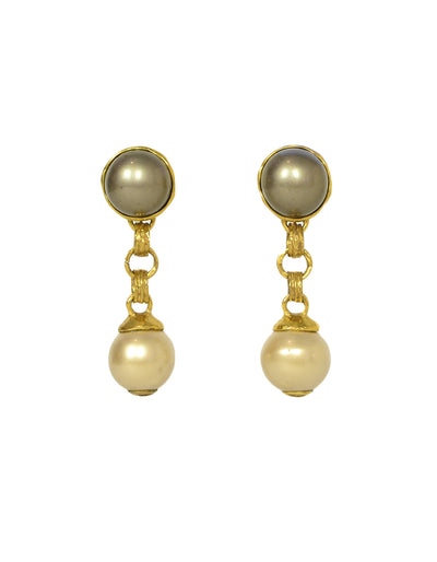 Chanel Grey/Ivory Faux Pearl Goldtone Clip Earrings