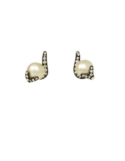 Chanel Vintage Grey Faux Pearl Earrings w/ Strass Crystals