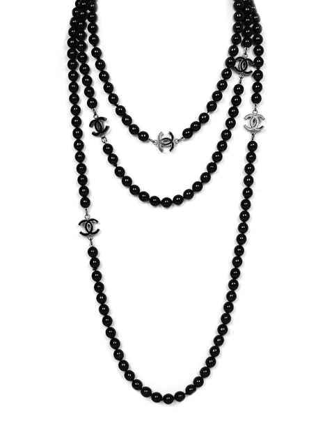 Chanel Black Bead CC Necklace 72""