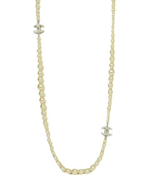 Chanel Graduated Faux Pearl CC Necklace 35""