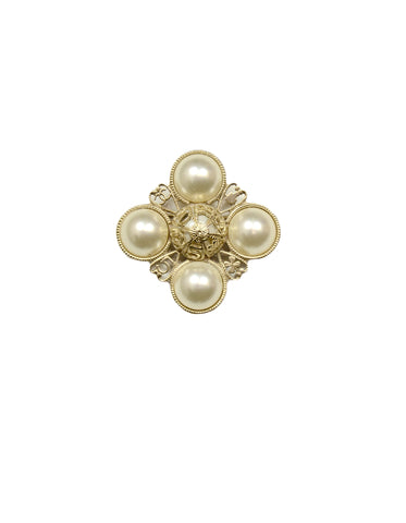 Chanel Filigree-Detail Pearl Brooch
