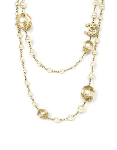 Chanel Pearl CC Necklace with Filigree Detailing