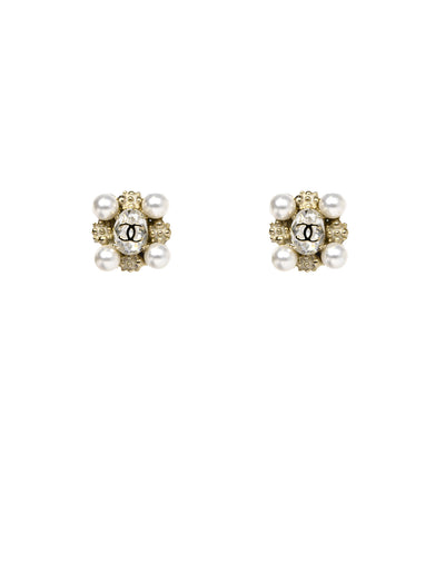 Chanel Pearl and Crystal CC Clip-on Earrings