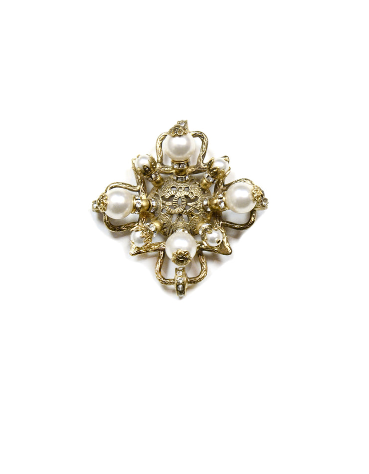 Chanel Goldtone Filigree CC Brooch w/ Faux Pearl and Crystals