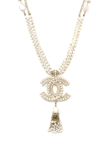 Chanel Fresh Water Pearl CC Tassel Adjustable Necklace