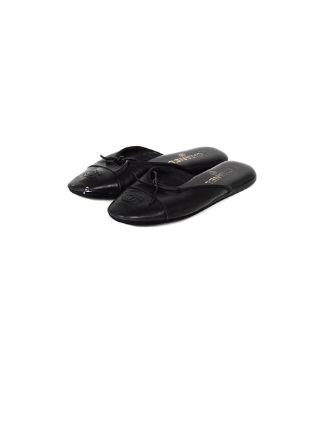 Chanel Black Leather House Slippers w/ CC sz 37