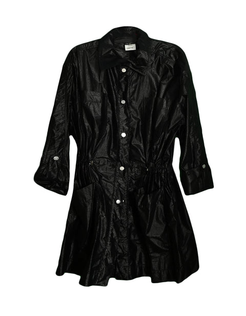 Chanel Black Shiny Snap Jacket with Elastic Cinched Waist sz FR40