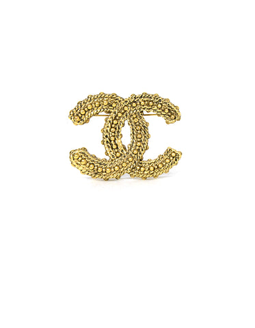 Chanel Goldtone CC Studded Brooch